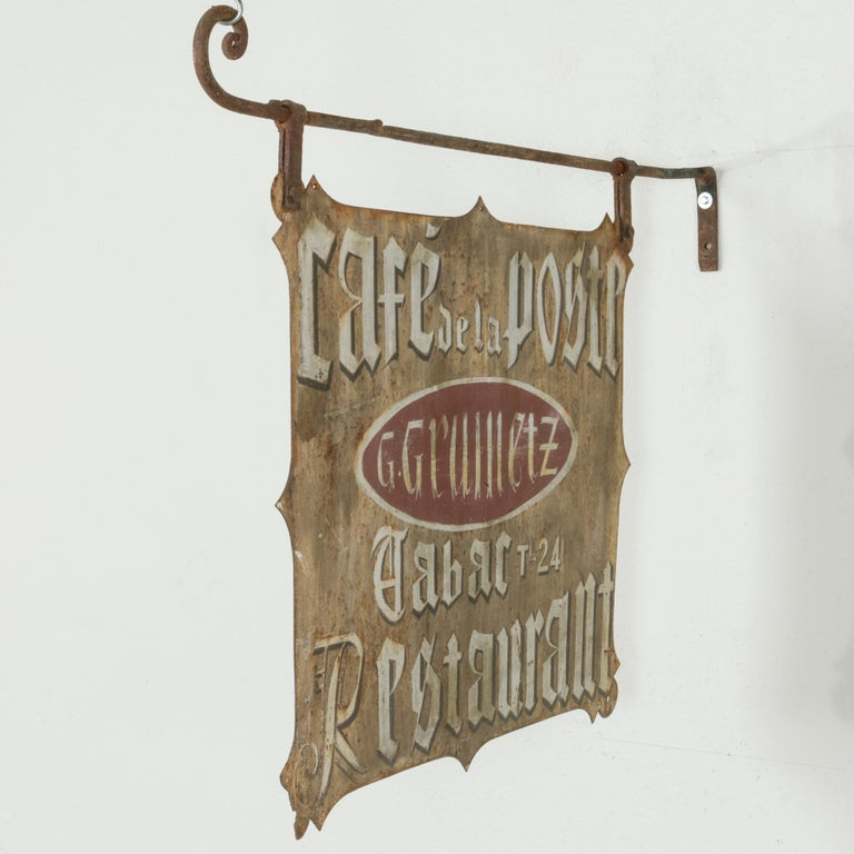 Large Early 20th Century French Double Sided Painted Iron Cafe Sign with Bracket For Sale 1