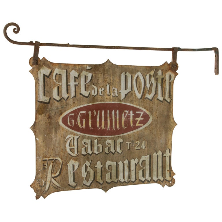 Large Early 20th Century French Double Sided Painted Iron Cafe Sign with Bracket For Sale