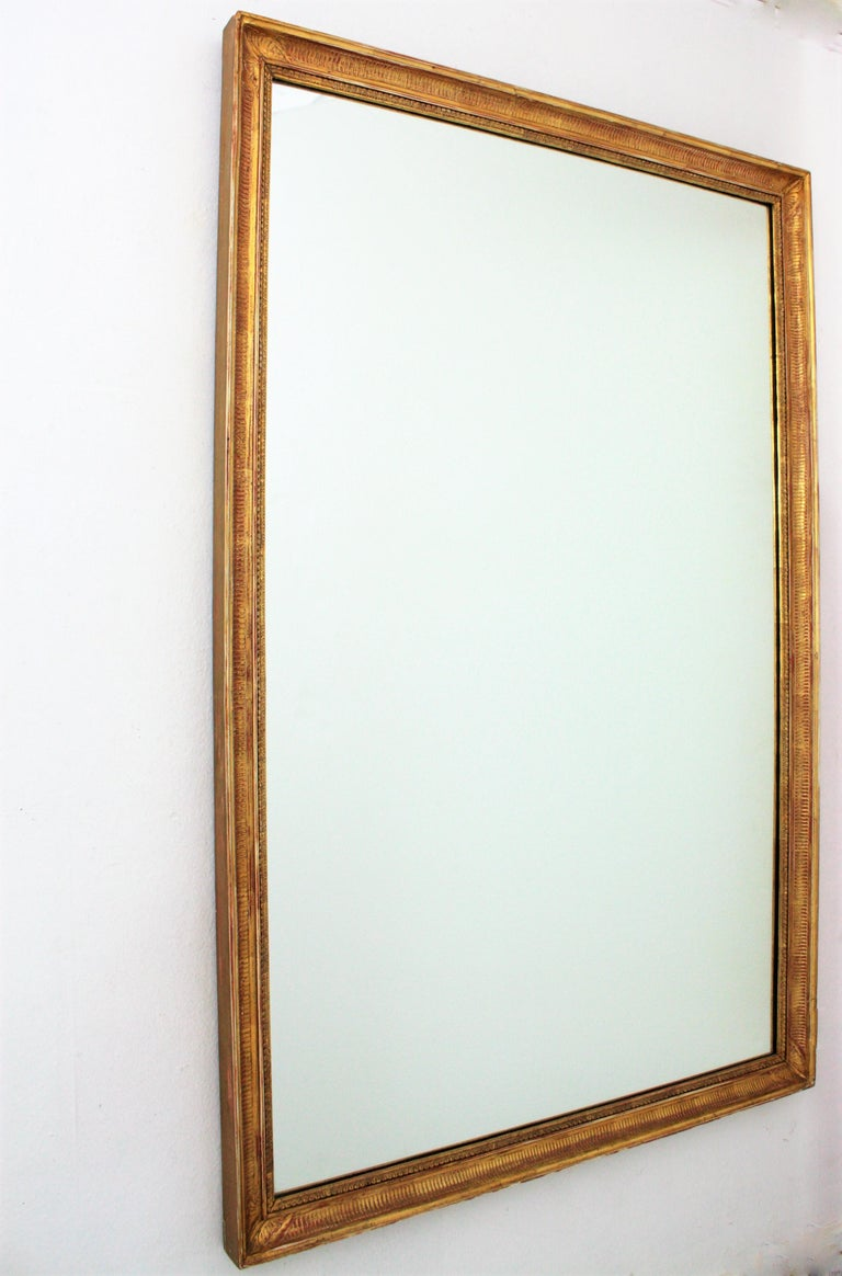 Large Early 20th Century French Empire Style Stripped Giltwood Mirror In Good Condition For Sale In Barcelona, ES