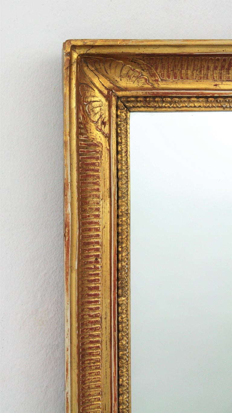 Wood Large Early 20th Century French Empire Style Stripped Giltwood Mirror For Sale