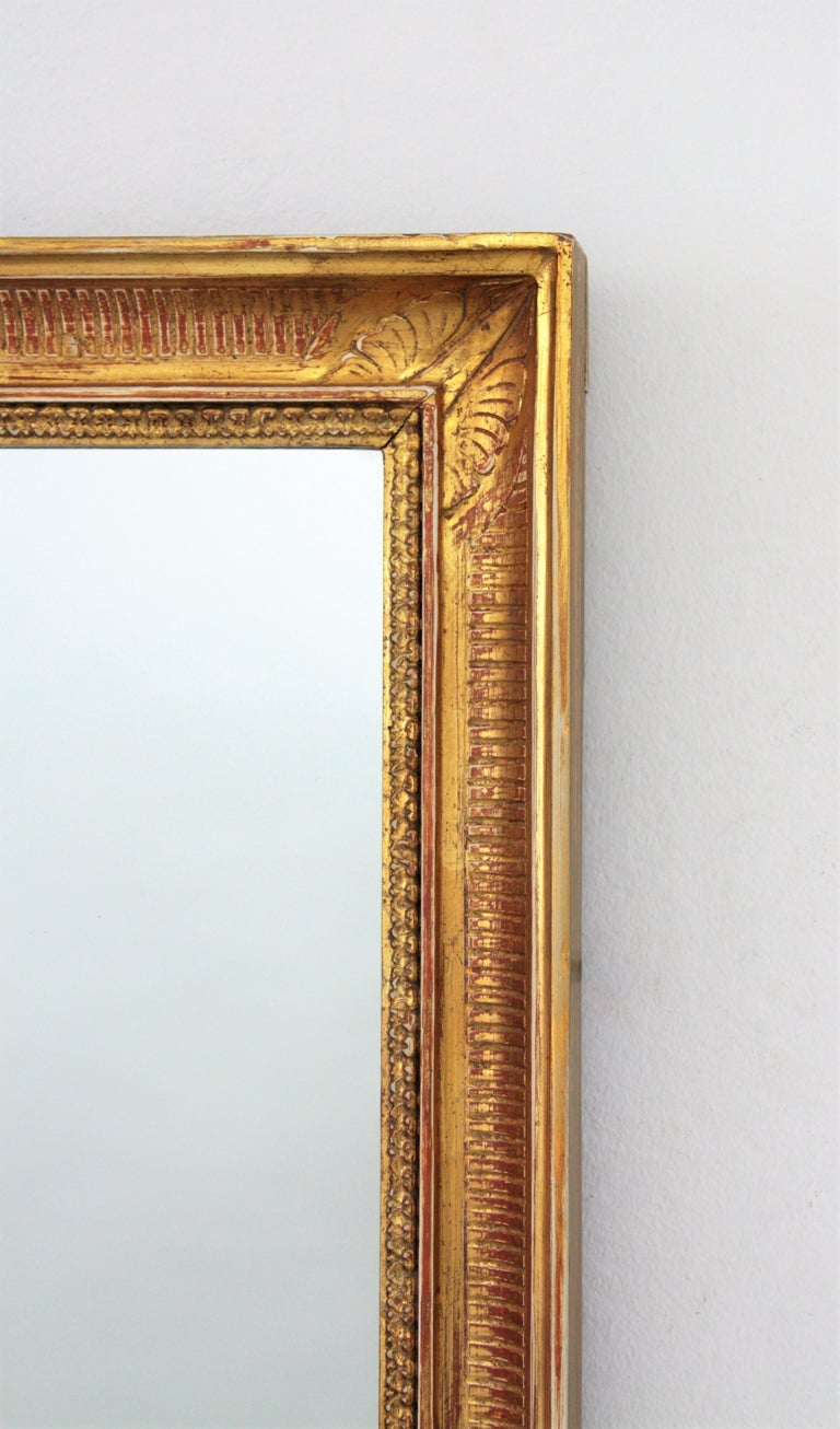 Large Early 20th Century French Empire Style Stripped Giltwood Mirror For Sale 1