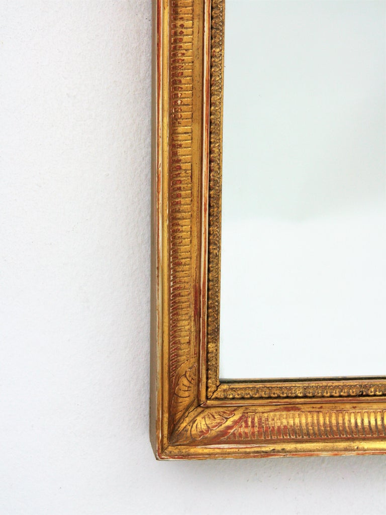 Large Early 20th Century French Empire Style Stripped Giltwood Mirror For Sale 2