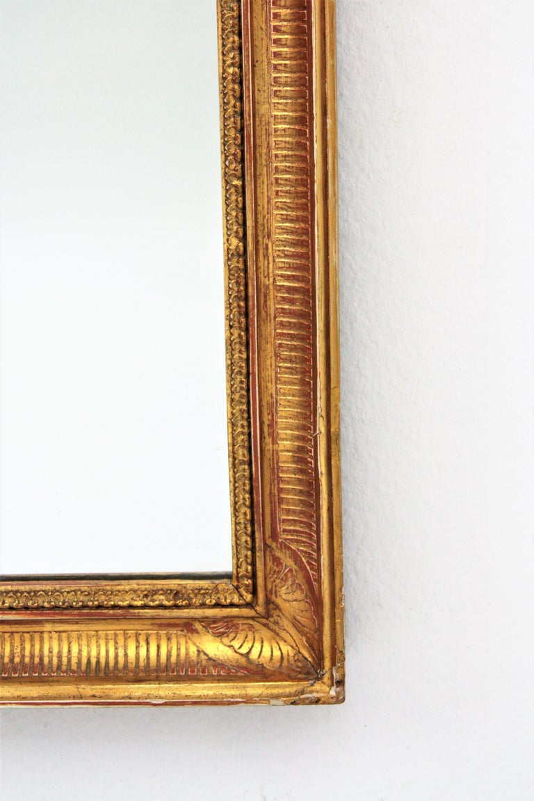 Large Early 20th Century French Empire Style Stripped Giltwood Mirror For Sale 3