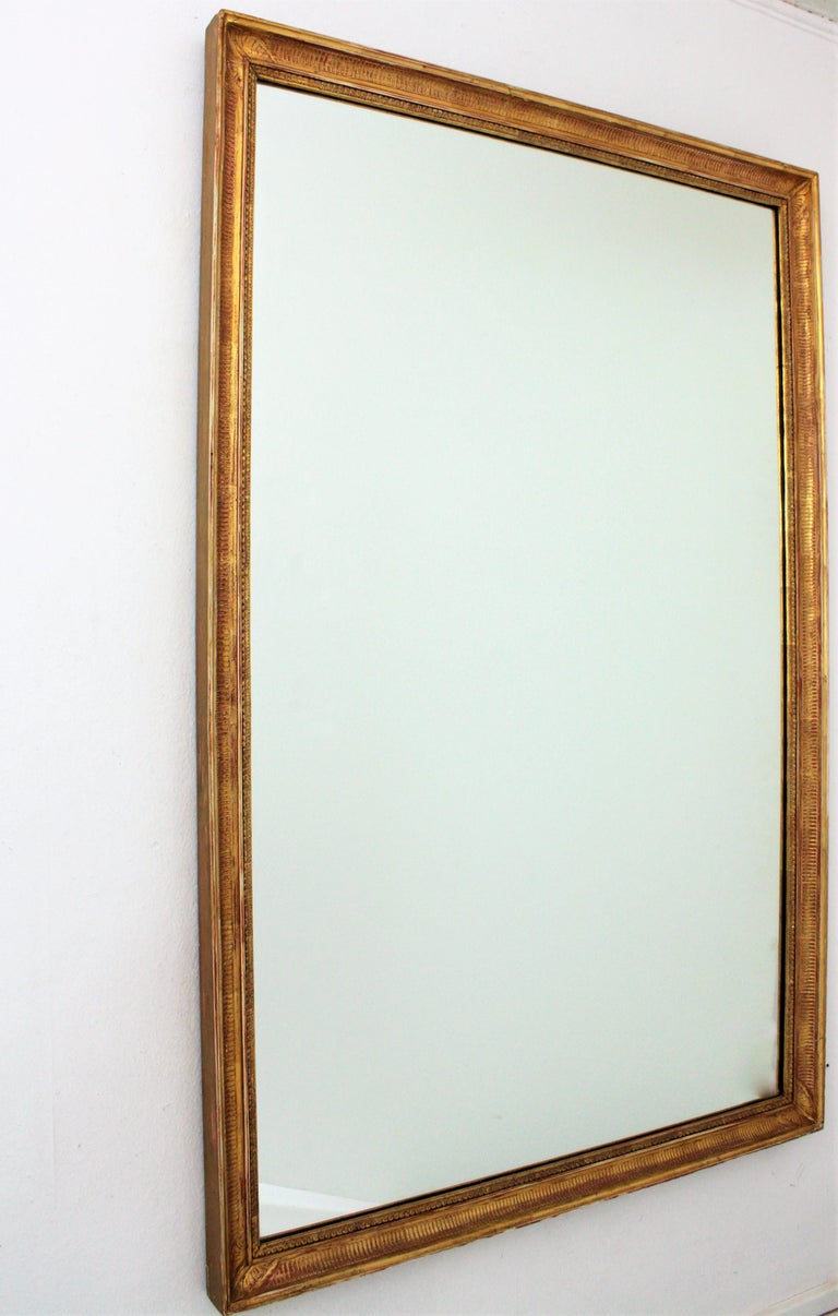 Large Early 20th Century French Empire Style Stripped Giltwood Mirror For Sale 5