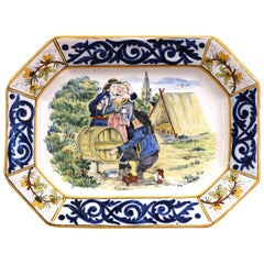Large Early 20th Century French Hand-Painted Faience HB Quimper Platter