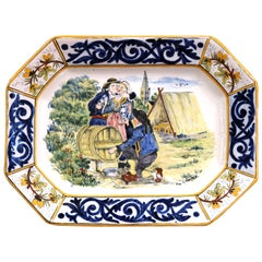 Large Early 20th Century French Hand Painted Faience HB Quimper Platter