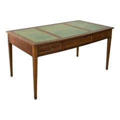 Large Early 20th Century French Louis XVI Style Mahogany Desk, Bronze, Leather