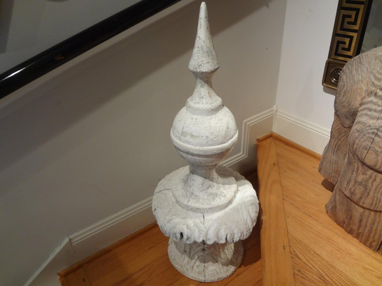 Painted Large Early 20th Century French Neoclassical Style Garden Finial For Sale