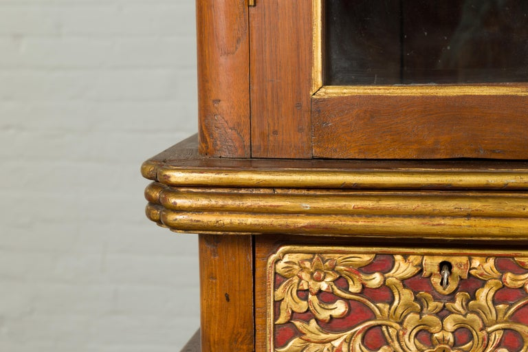 Large Early 20th Century Indonesian Cabinet with Beveled Glass Doors and Drawers For Sale 6