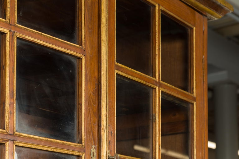 Large Early 20th Century Indonesian Cabinet with Beveled Glass Doors and Drawers For Sale 7