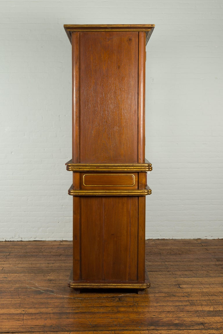 Large Early 20th Century Indonesian Cabinet with Beveled Glass Doors and Drawers For Sale 9
