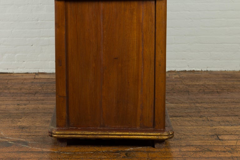 Large Early 20th Century Indonesian Cabinet with Beveled Glass Doors and Drawers For Sale 12