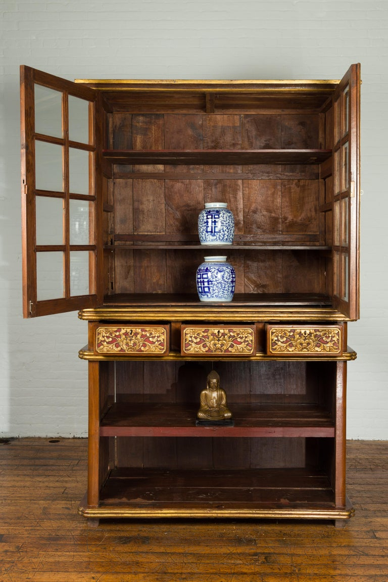 Large Early 20th Century Indonesian Cabinet with Beveled Glass Doors and Drawers In Good Condition For Sale In Yonkers, NY