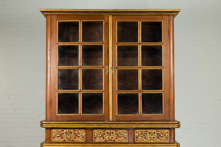 Wood Large Early 20th Century Indonesian Cabinet with Beveled Glass Doors and Drawers For Sale