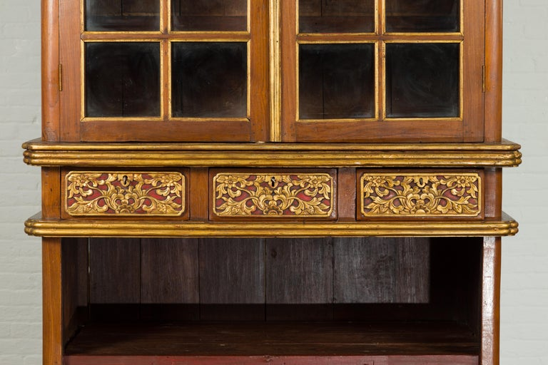 Large Early 20th Century Indonesian Cabinet with Beveled Glass Doors and Drawers For Sale 1