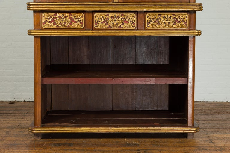 Large Early 20th Century Indonesian Cabinet with Beveled Glass Doors and Drawers For Sale 2