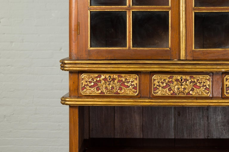 Large Early 20th Century Indonesian Cabinet with Beveled Glass Doors and Drawers For Sale 3