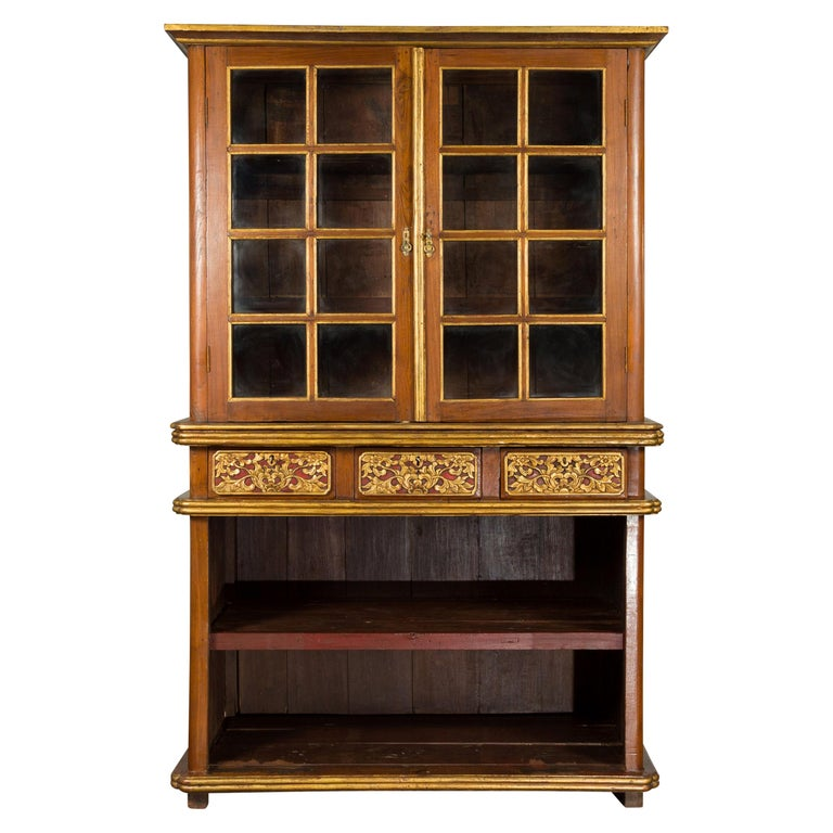 Large Early 20th Century Indonesian Cabinet with Beveled Glass Doors and Drawers For Sale