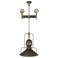 Large Early 20th Century Industrial Cog Pendant Light