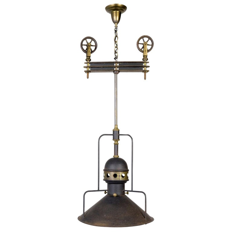 Large Early 20th Century Industrial Cog Pendant Light For Sale