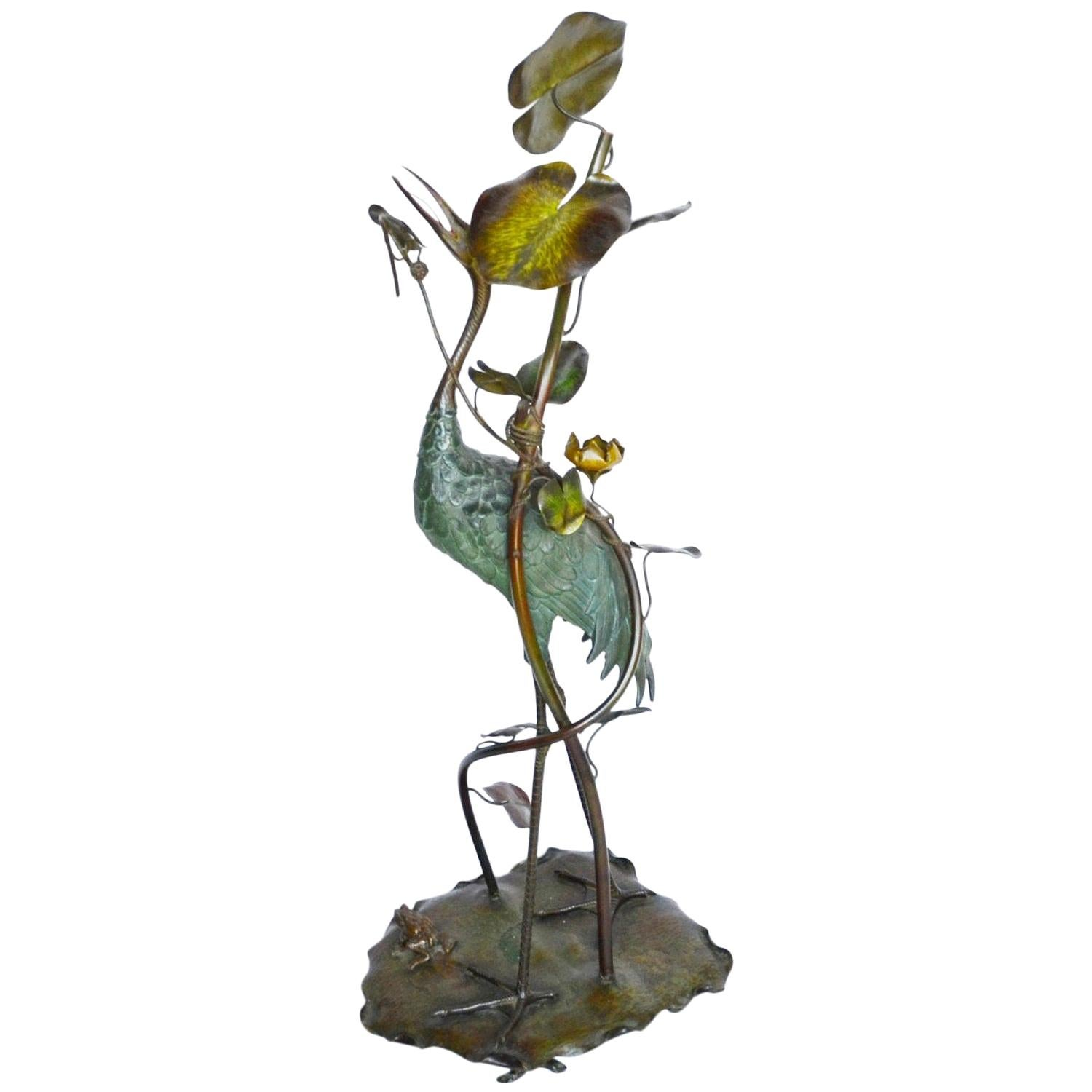 Large Early 20th Century Japanese Bronze Stork Sculpture, Unsigned, circa 1910