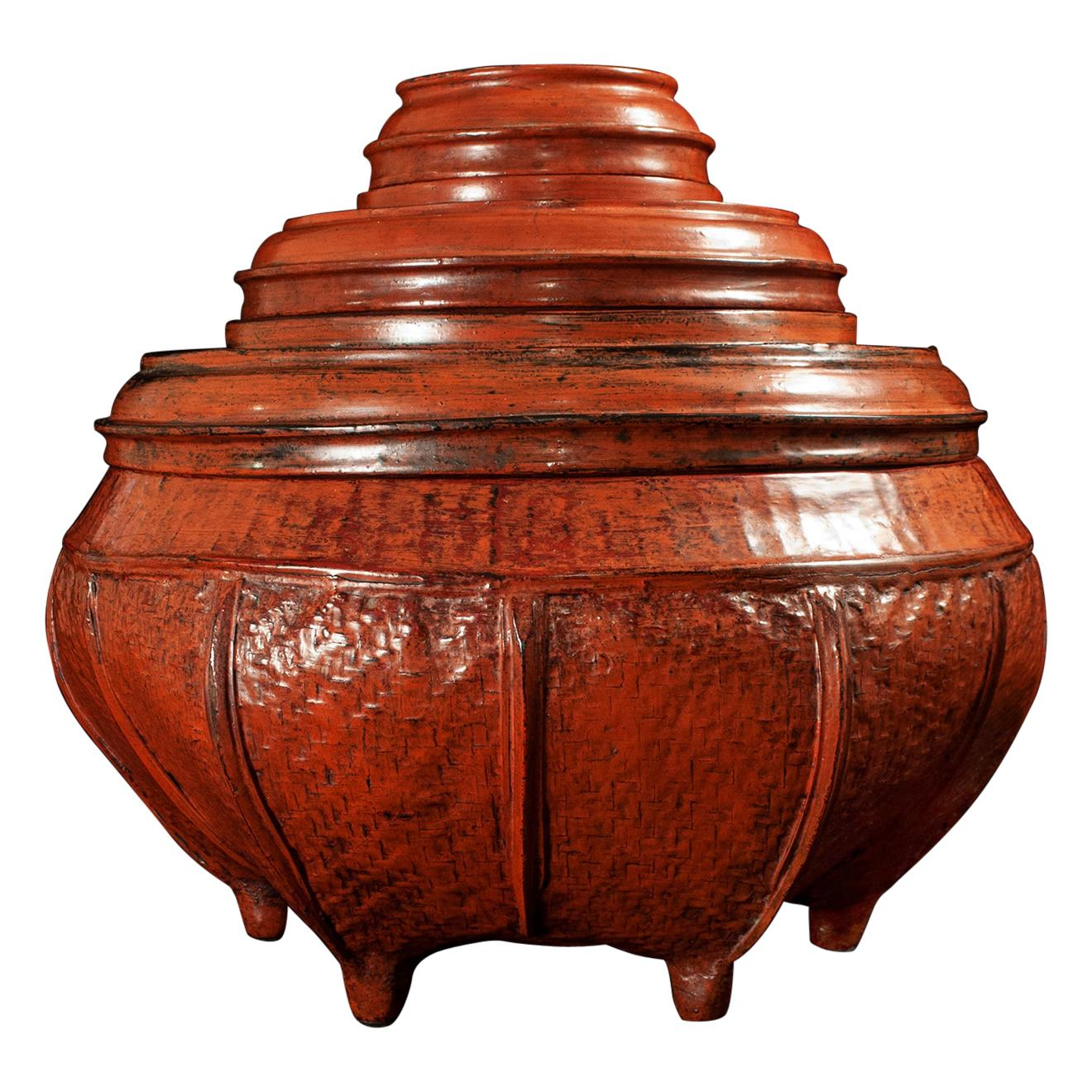 Large Early 20th Century Lacquer and Bamboo Offering Vessel, Burma