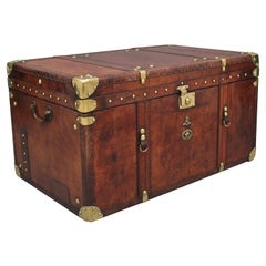 Large Early 20th Century Leather Bound Ex Army Trunk