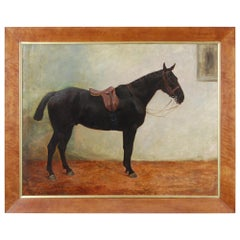 Large Early 20th Century Oil on Canvas of a Saddled Dark Bay Horse in a Stable