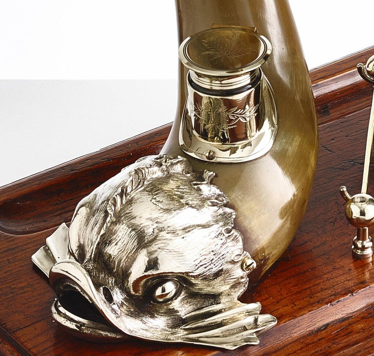 Silver Plate Large early 20th century partners desk centrepiece with bell circa 1910 For Sale