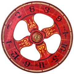 Large Early 20th Century Roulette Wheel with Original Paint on Both Sides