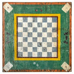 Large Early 20th Century Wooden Game Board with Original Paint