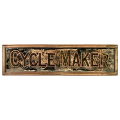 Large Reverse Glass Painted Cycle Maker Advertising Sign, circa 1930-1935