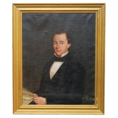 Large Early Antique Portrait Painting, Gentleman Holding a NY Newspaper, c1850