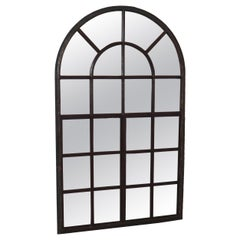 Large Early Cast Iron Arched Industrial Window with Mirror, France, 1800s