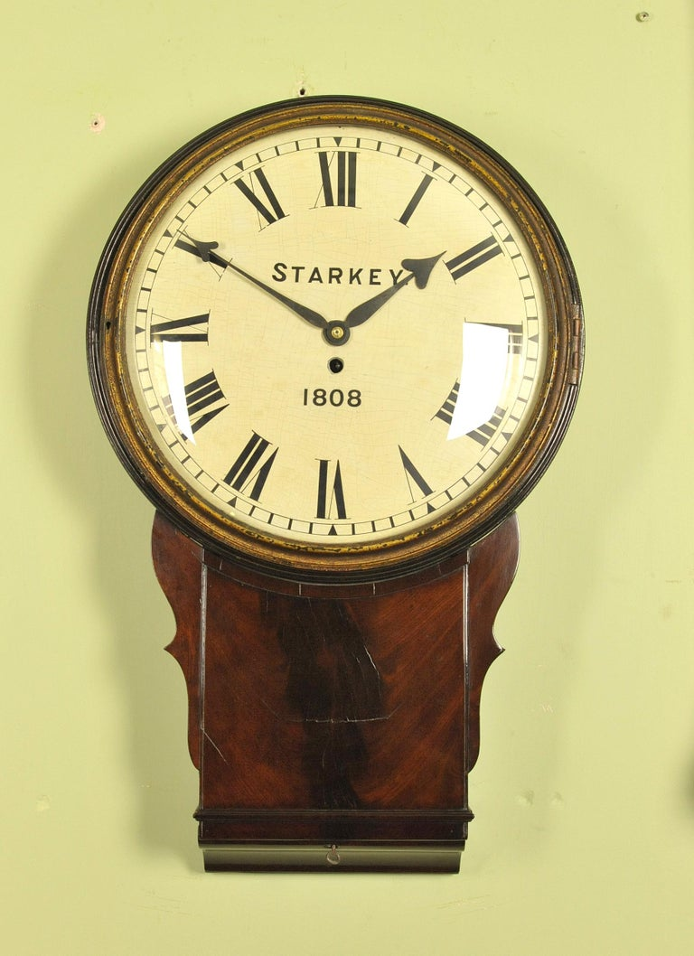Large Early Convex Wooden Dial Clock For Sale At 1stdibs