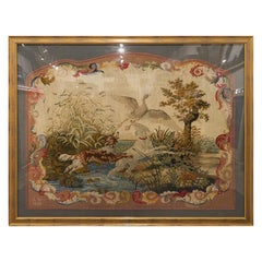 Large Early English Framed Needlepoint Depicting Hunting Scene with Dogs, 1840