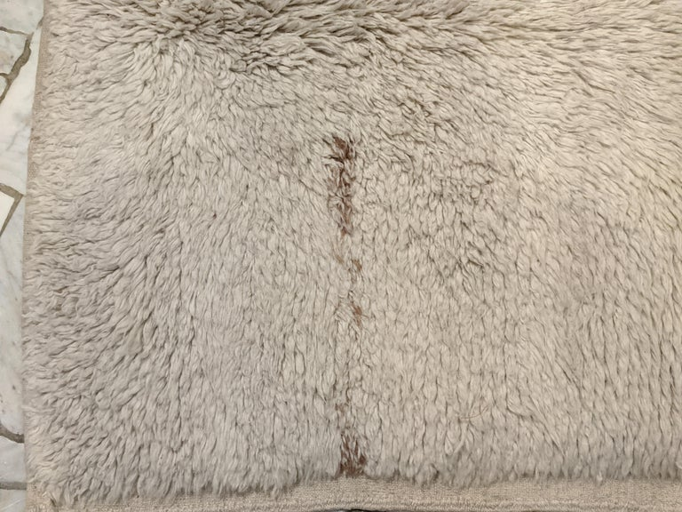 Hand-Knotted Large Early Ivory Minimal Tulu Rug For Sale
