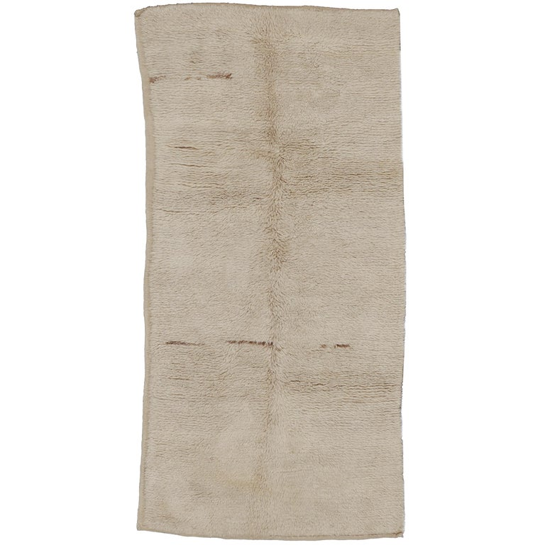 Large Early Ivory Minimal Tulu Rug For Sale