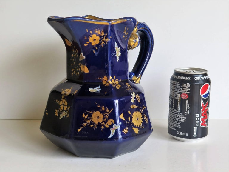 Large Early Masons Ironstone Jug or Pitcher Hand-Painted Butterflies, Circa 1825 For Sale 13