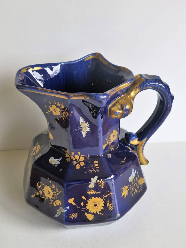George IV Large Early Masons Ironstone Jug or Pitcher Hand-Painted Butterflies, Circa 1825 For Sale