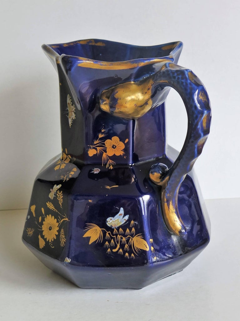 English Large Early Masons Ironstone Jug or Pitcher Hand-Painted Butterflies, Circa 1825 For Sale