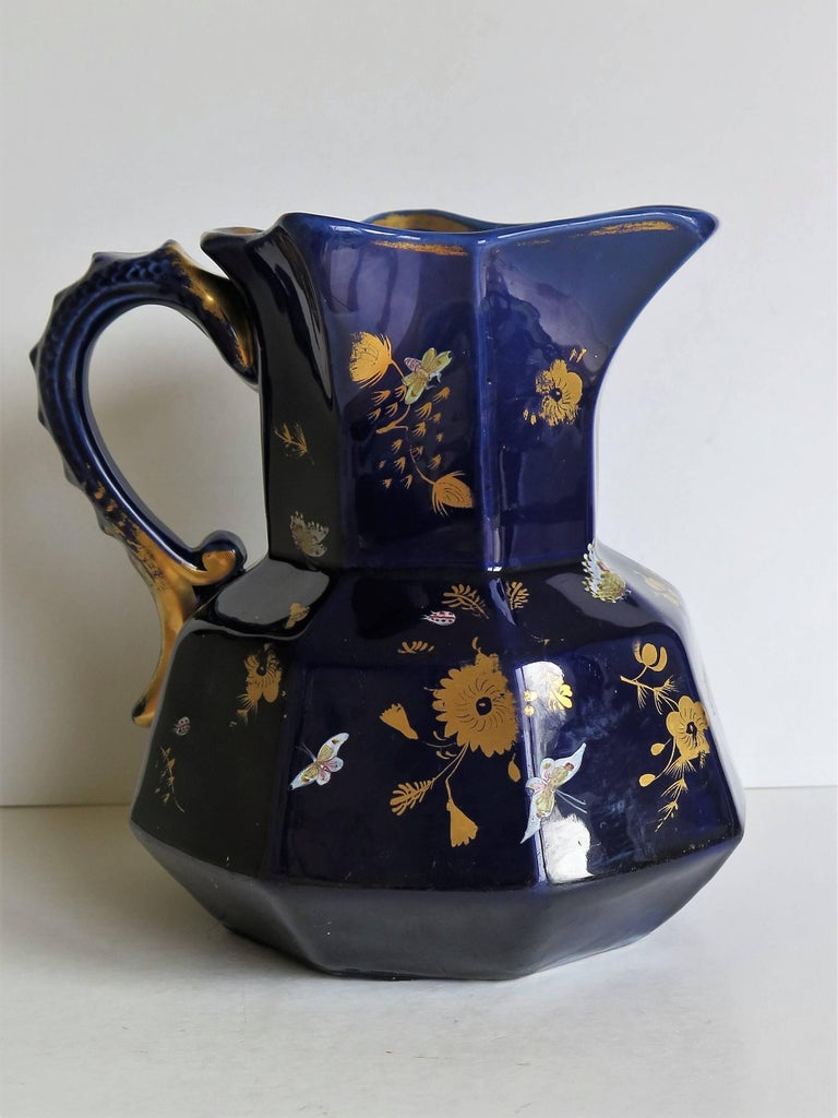 19th Century Large Early Masons Ironstone Jug or Pitcher Hand-Painted Butterflies, Circa 1825 For Sale
