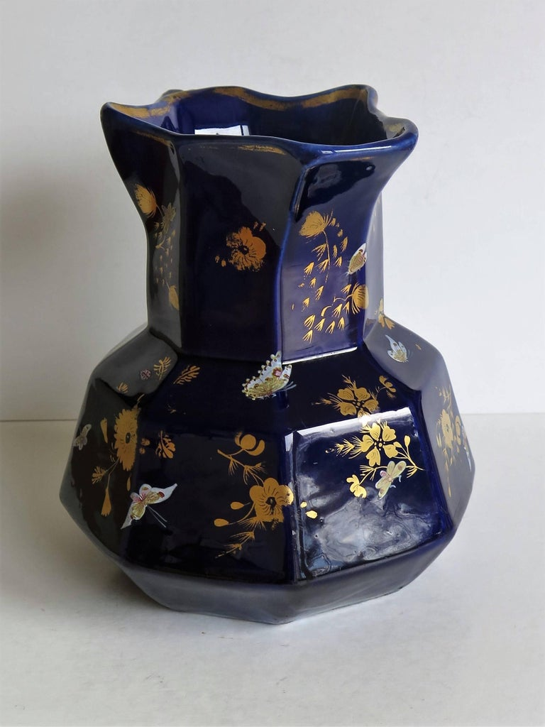 Large Early Masons Ironstone Jug or Pitcher Hand-Painted Butterflies, Circa 1825 For Sale 1