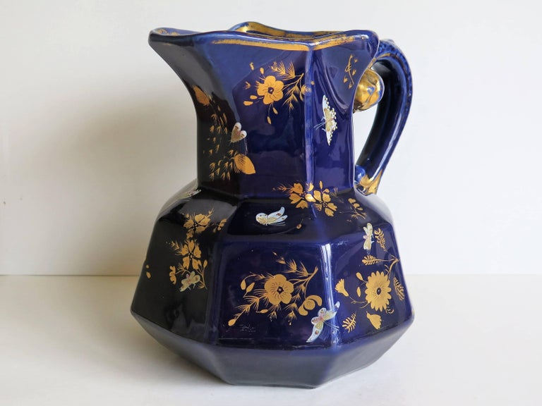 Large Early Masons Ironstone Jug or Pitcher Hand-Painted Butterflies, Circa 1825 For Sale 2