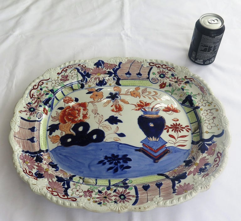 Large Early Mason's Ironstone Platter in Vase and Rock Pattern, Circa 1815 For Sale 6