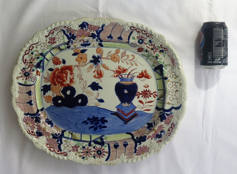 Large Early Mason's Ironstone Platter in Vase and Rock Pattern, Circa 1815 For Sale 7