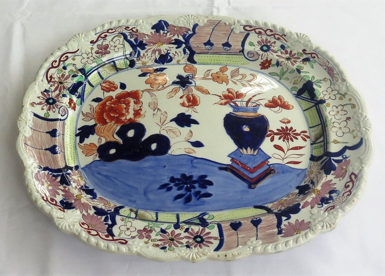 George III Large Early Mason's Ironstone Platter in Vase and Rock Pattern, Circa 1815 For Sale