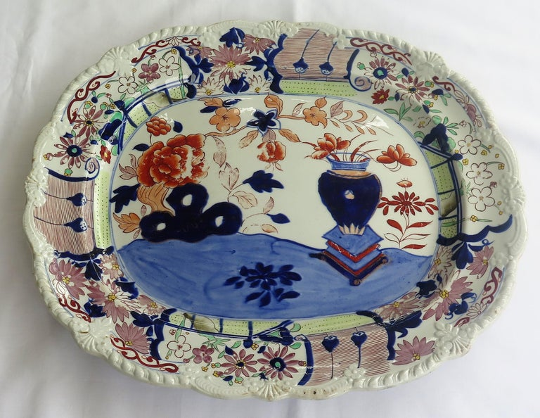 English Large Early Mason's Ironstone Platter in Vase and Rock Pattern, Circa 1815 For Sale