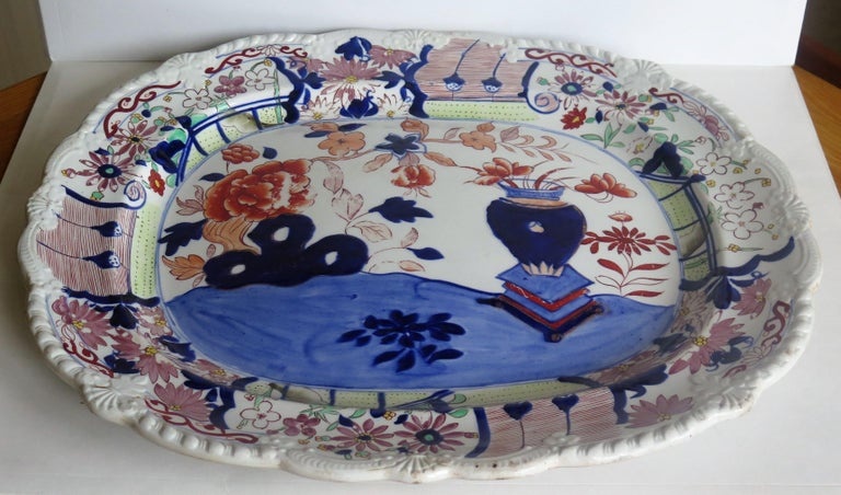 Hand-Painted Large Early Mason's Ironstone Platter in Vase and Rock Pattern, Circa 1815 For Sale