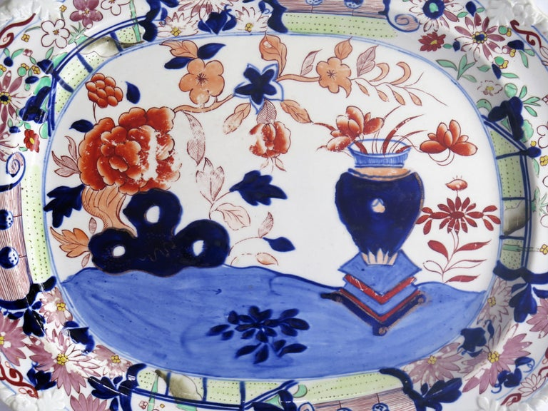 Large Early Mason's Ironstone Platter in Vase and Rock Pattern, Circa 1815 In Good Condition For Sale In Lincoln, Lincolnshire